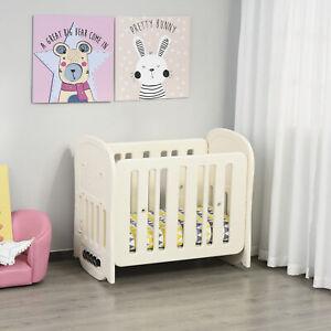 Cuna de Bebé Ajustable en 2 Alturas hasta 25 kg con Ruedas y Frenos Beige