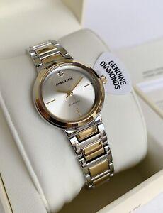 Anne Klein Watch * 3529SVTT Diamond 2 Tone Gold & Silver Steel Watch for Women