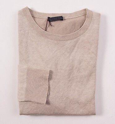 NWT $450 BERTOLO Garment-Dyed Beige Crewneck Cotton Sweater 50/M Italy