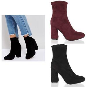 Détails sur Haut Femmes Gros Bloc Évasé Chelsea Talon Smart Chaussette Bottines Chaussures