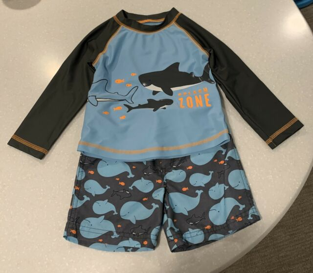 Carter/'s Baby Boys 2 Pc Swimsuit With Rash Guard Shirt NWT 12 Months  MSRP $36
