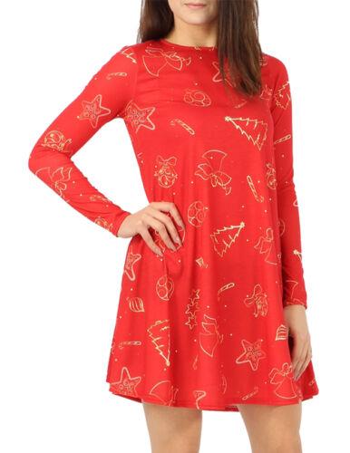 New Womens Christmas 2018 Swing Skater Dress Santa Reindeer Xmas Party Top Cheap