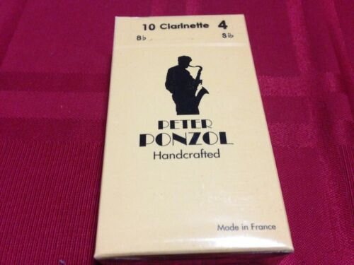 BOX OF 10 PETER PONZOL HANDCRAFTED CLARINET REEDS SIZE 4
