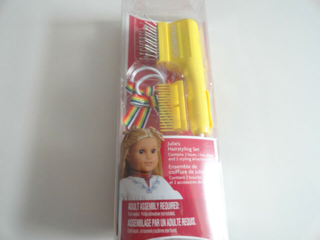 American Girl Julie/'s New Hairstyling Set NIB Hair Styling Blow Dryer Bows