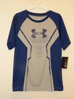 Under Armour Heat Gear Blue And Gray Short Sleeve Shirt Size 6