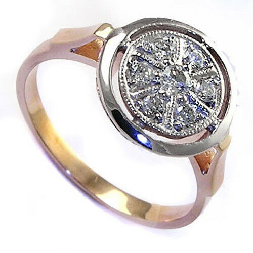 Russian Style Engagement Ring 14k gold Genuine Diamonds ( R743)