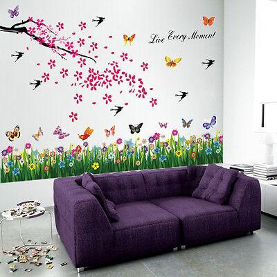 HUGE Flowers Tree Butterflies Wall Stickers art Mural Children paper Kids Girls