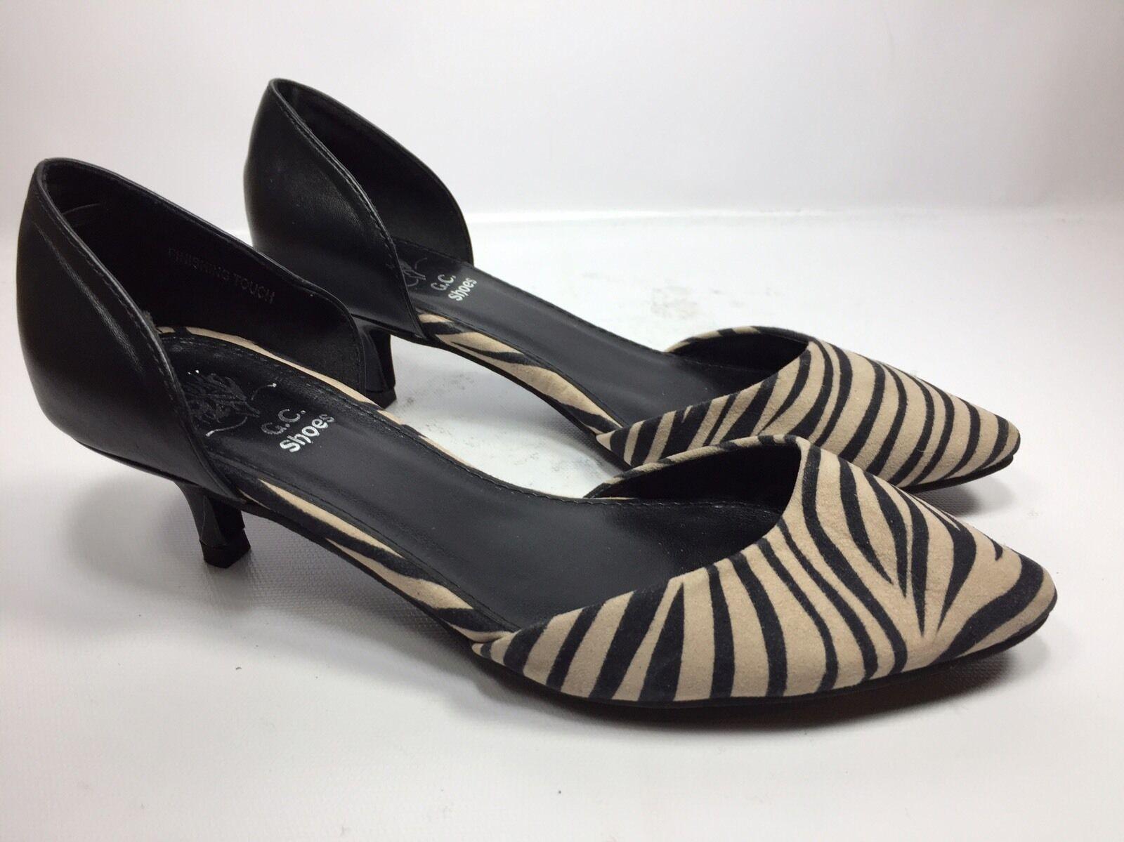 G.C. Shoes Heels Women's Black/Ivory Zebra Print Kitten Heels Shoes Shoe Size 7.5 eea919