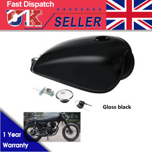 Motorcycle-9L-2-4-Gal-Fuel-Gas-Tank-For-Suzuki-GN125-250-Cafe-Racer-Glossy-Black