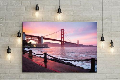 80x60cm GAEKKO Golden Gate Bridge 16isa San Francisco Leinwandbild