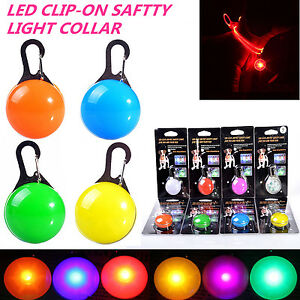 LED-Pet-Dog-Cat-Collar-Nite-Night-Light-Safety-Clip-Flashing-Neon-Pendant-NEW