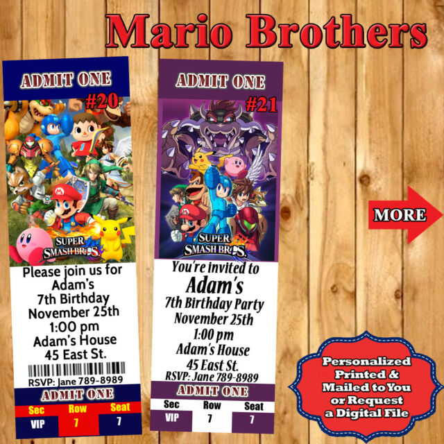Personalized Photo Super Mario Kart Sonic Birthday Invitations For Sale Online