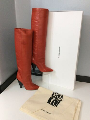 36 Uk Laith Rrp Red Marant Boots 3 Leather Lamb Isabel Size Knee £735 61qz85