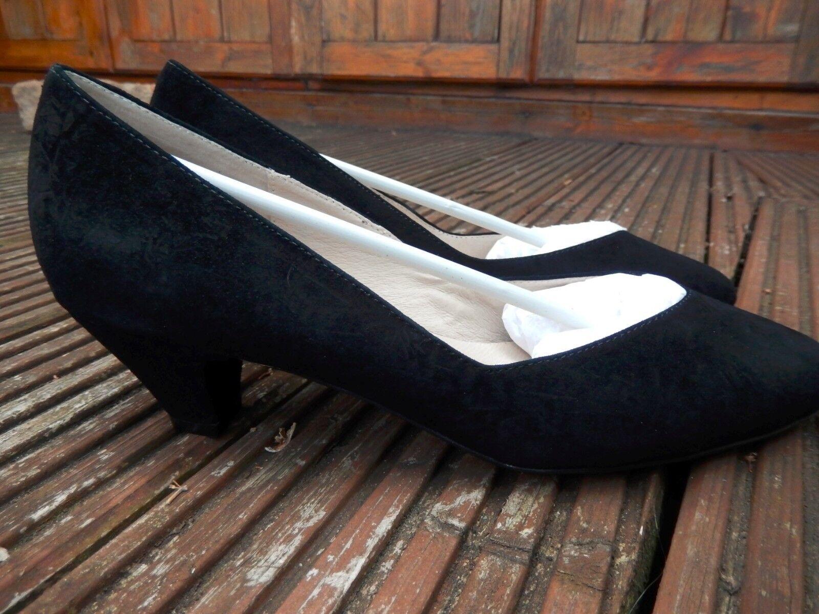 Vintage Rosie Walker Low Heeled Suede Shoes Black Stella Sz 37 EU 4.5 UK New