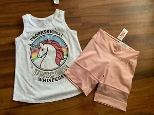 NWT Justice Girls Outfit Unicorn Tank Top//Shorts Size 6 7 8 10