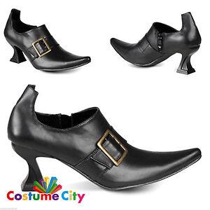 Mujer Damas Tacón Alto Zapatos De Bruja Negro Fancy Dress Costume Accesorio