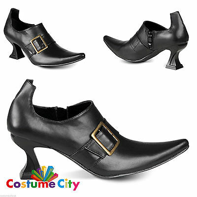 Adult Woman's Black High Heel Witches Shoes Fancy Dress Costume Accessory