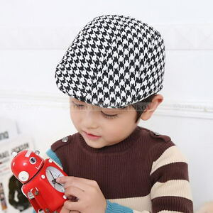 Boys Kids Child Beret Flat Cap Houndstooth Plaid Newsboy Hat Baby ... 361ed1d280d5