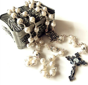 CATHOLIC real Pearl Bead Sterling Silver Wire Wrap Rosary NECKLACE Cross BOX