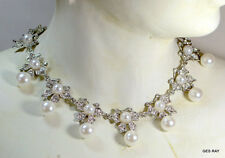 VINTAGE STRAND NECKLACE FAUX WHITE PEARLS WITH CLEAR RHINESTONES PEARL RIBBON