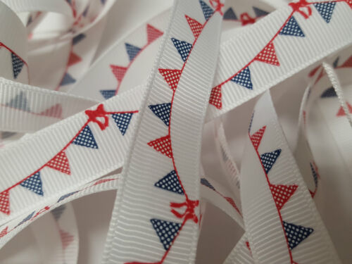 Grosgrain Ribbon Bertie`s Bows Navy /& Red Buntings on White 16mm BTB061a