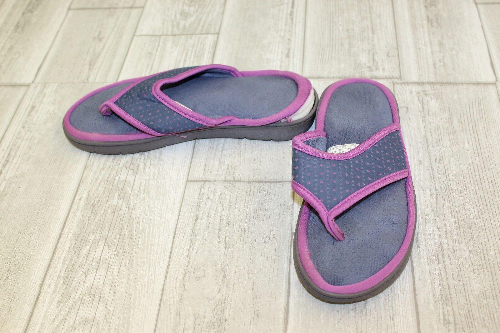 Dearfoams Microblocked Purple Slipper, Women's Size 7/8, Purple Microblocked (DAMAGED) 23a3a2