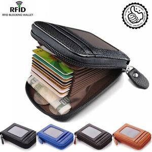 Men-039-s-Wallet-Real-Leather-Credit-Card-Holder-RFID-Blocking-Zipper-Thin-Pocket-hi