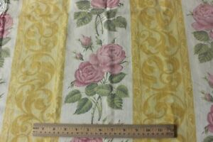 Vintage-French-Pink-Rose-amp-Yellow-Scroll-Stripe-Cotton-Home-Dec-Fabric-c1940-50s