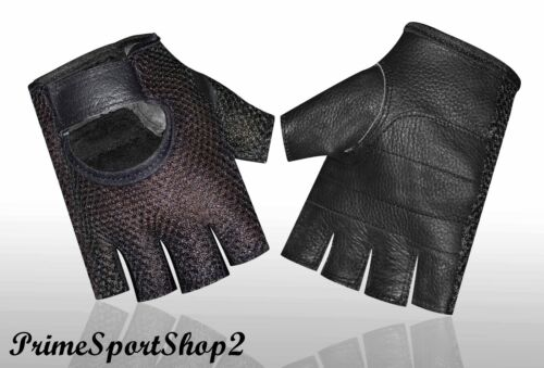 Leather Mesh Padded Women Weight Lifting Training Cycle Wheelchair Black Glove/'s