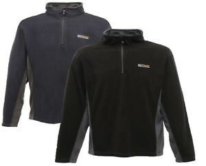 Regatta Montes Mens Grey Fleece Long Sleeve Warm Outdoors Half Zip Top