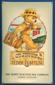 Teddy-Tum-Letrero-de-Metal-3D-en-Relieve-Arqueado-Cartel-de-Lata-20-X-30CM