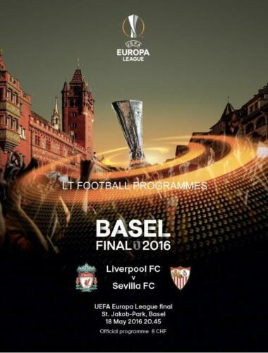 2016 EUROPA LEAGUE FINAL PROGRAMME LIVERPOOL v SEVILLA 18th May 2016
