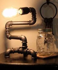 Industrial Pipe Bend Lamp / Cast Iron / Desk Table Light  / Vintage Steampunk