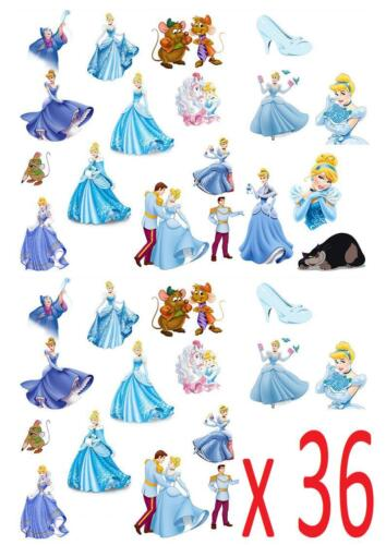36 Cinderella STAND UP Cupcake Cake Toppers Edible decorations fairy cake