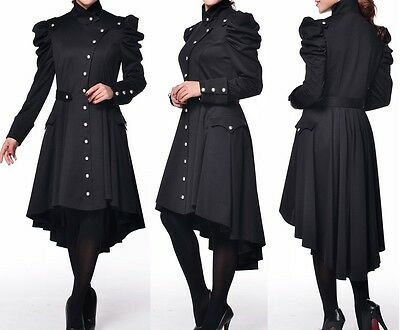 Black Victorian High Neck Hi Lo Trench Coat Steampunk Gothic 26 Plus 26W 4X *