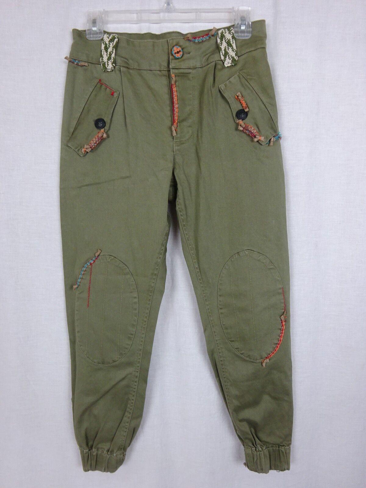 Mr & Mrs Furs Pants Military Grün Woven Accents Knee Patches Zipper Cuffs  M
