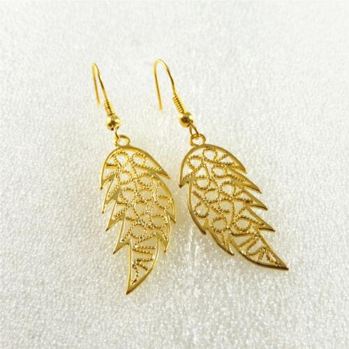 Handmade Golden Metal évidé Leaf Drop Dangle Crochet Boucles D/'oreilles Bijoux 52870