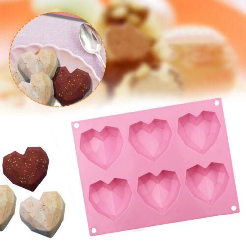 6-Cavity Diamond/_Hearts Silicone Chocolate Cake Mould Soap Pudding Baking Mold