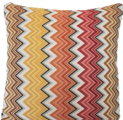 """Zig Zag Woven Cushion Cover Oriental Orange Red Brown Fabric 16/"""" Square"""