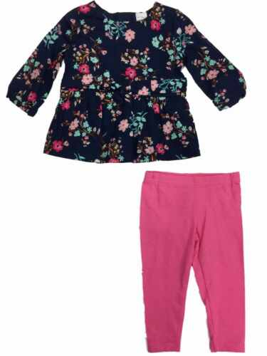 Carter/'s Infant Toddler Girls Navy Floral Peasant Top /& Hot Pink Legging Outfit