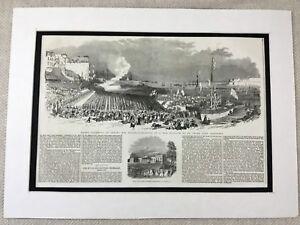 1853-Print-St-Peter-Port-Guernsey-New-Harbour-Landscape-Original-Antique
