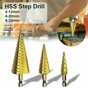 4-20-mm-HSS-Steel-5Step-Cone-Titanium-Coated-Drill-Bit-Hex-Shank-Hole-Cutter-New