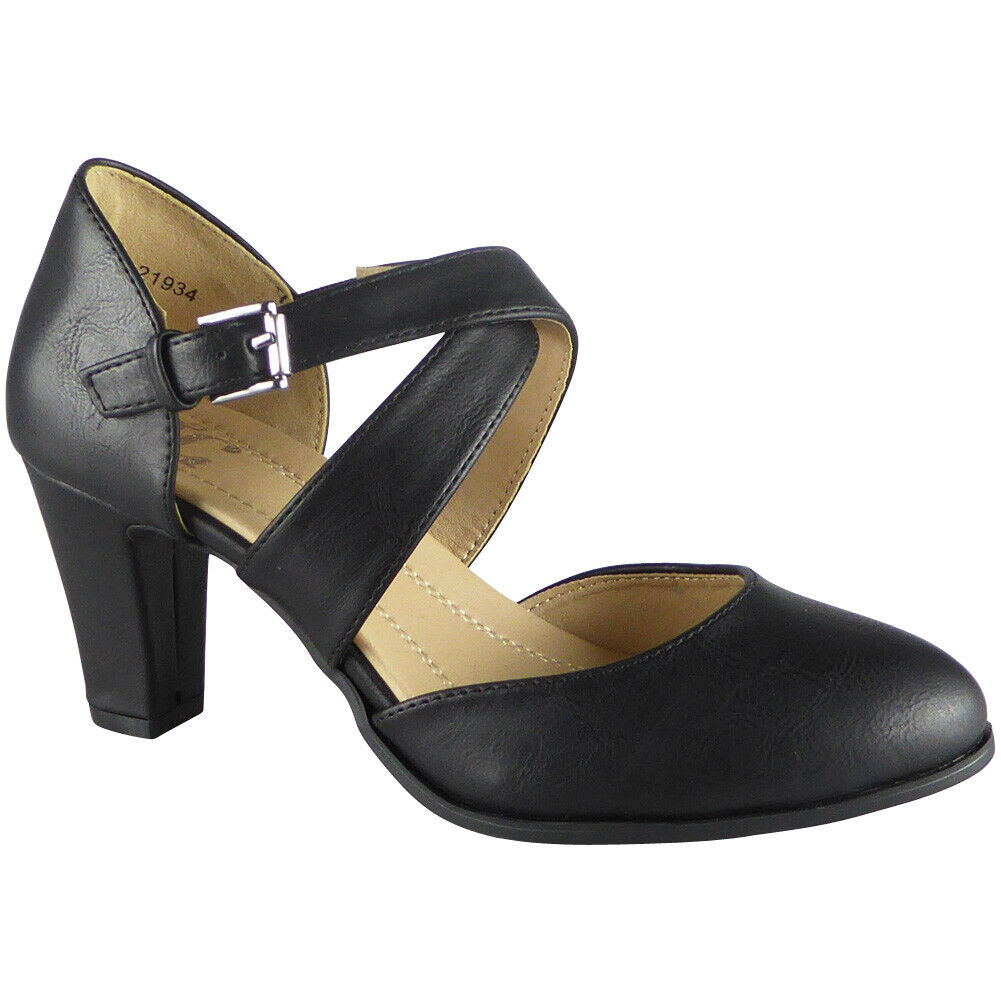 97590e1cd4195 Details about New Womens Ladies Mary Jane Court Buckle Shoes Strappy High  Heel Comfy Sizes