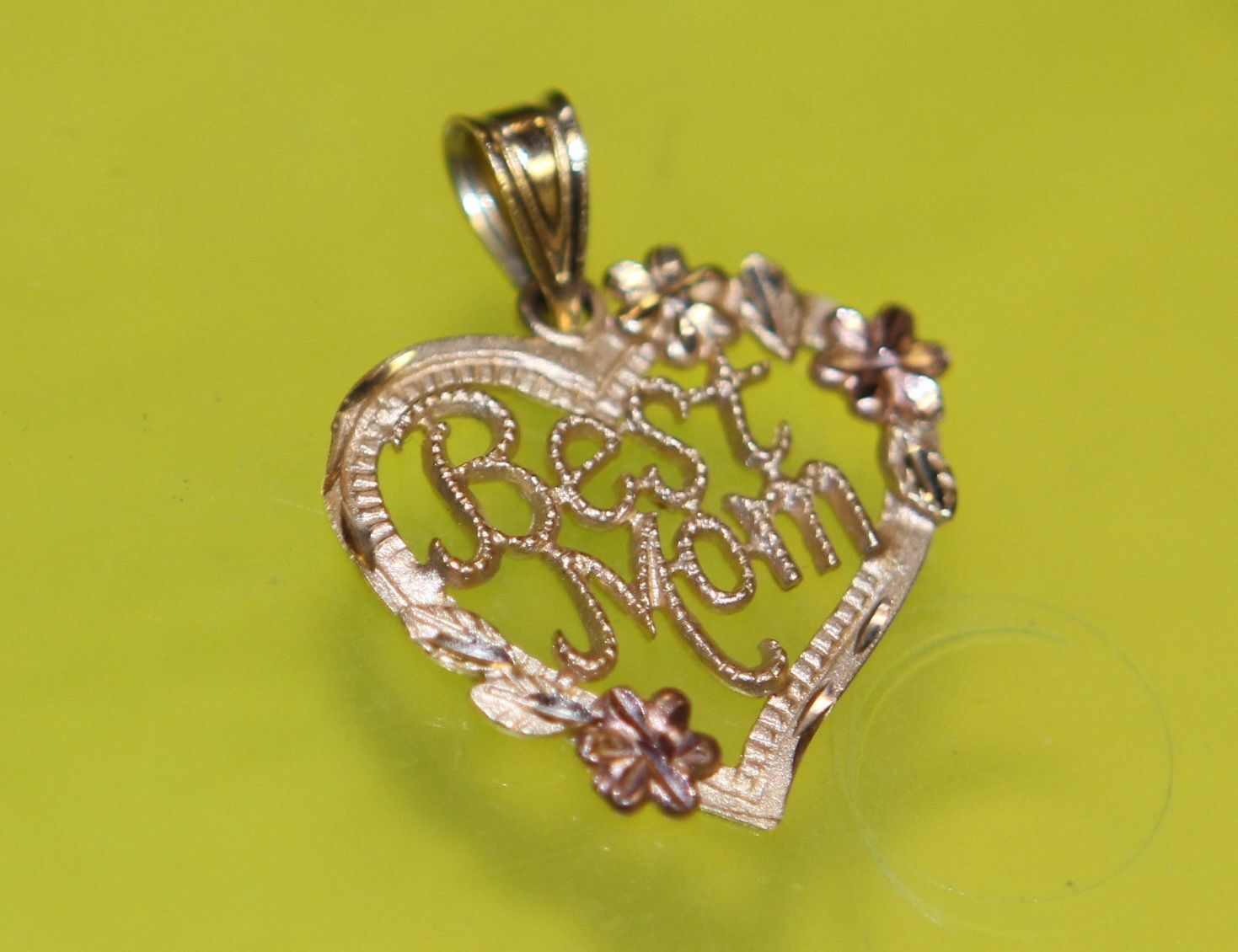 P2 14K pink gold PENDANT charm HEART BEST MOM Mother Filigree