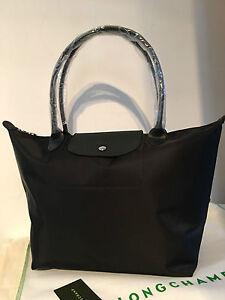4cc72ed7fc4e 100% Auth Longchamp Le Pliage Neo Large Tote Bag Black 1899578001 ...