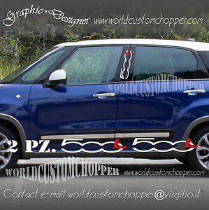 Details About 2 Stickers Stickers Posts Car Doors Fiat 500 L Car Tuning