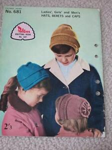 436865da281 Details about Vintage Patons Knitting Book No.681 - Ladies  Girls  and  Men s Hats - 1960s
