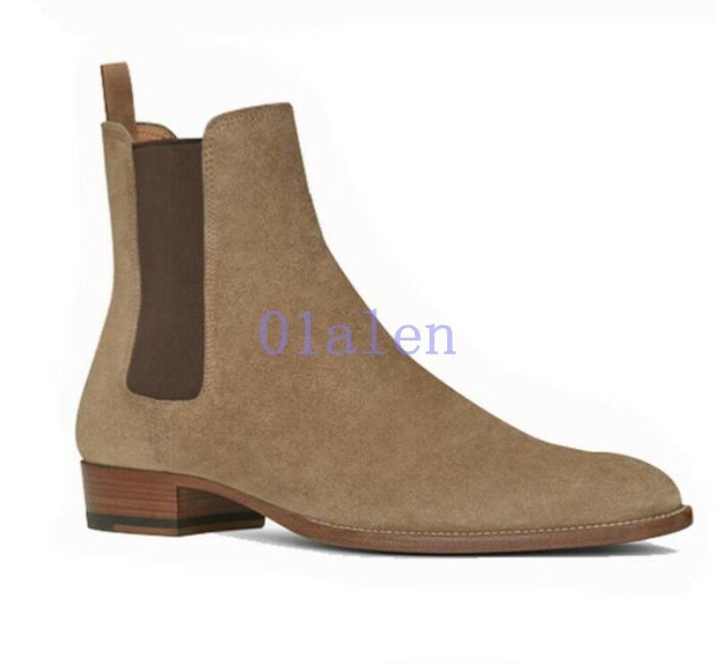 Retro Pelle Uomo Chelsea High Top Ankle Stivali Real Suede Pelle Retro Manual Riding Shoes 577617