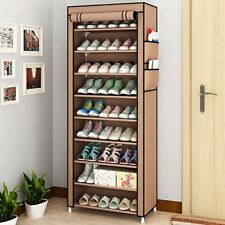Dustproof 10 Layer Shoes Cabinet Storage Organiser Shoe Rack Free Standing Space