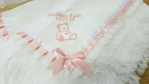 bear embroidered  baby white shawl   personalized newborn girl gift